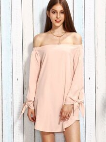 Pink Off The Shoulder Long Sleeve Bow Tie Dress