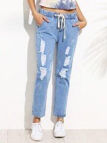 Blue Ripped Print Drawstring Jeans