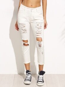 White Ripped Denim Skinny Jeans