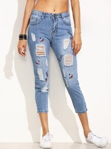 Blue Ripped Cartoon Embroidered Jeans