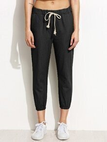 Black Elastic Hem Drawstring Peg Pants