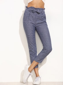 Blue Striped Ruffled Tie Waist Pants