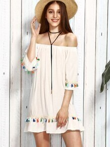 White Tassel Trim Off The Shoulder Dress