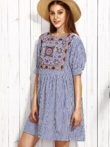 Blue Vertical Striped Embroidered High Waist Dress