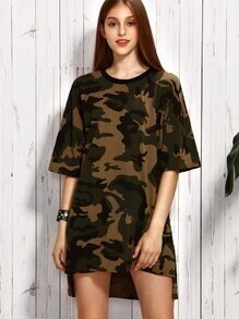 Olive Green Camo Print Drop Shoulder High Low Dress