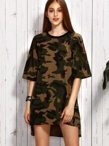 Olive Green Camo Print Drop Shoulder High Low Dress