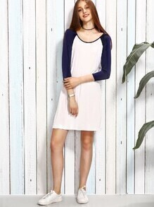 White Contrast Raglan Sleeve Dress