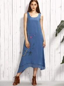 Blue Blossom Branch Print Layered Asymmetric Dress