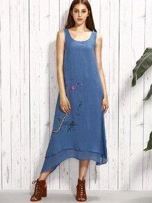 Blue Blossom Branch Print Layered Asymmetric Dress