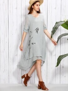 Grey Bamboo Print Roll Tab Sleeve Layered Asymmetric Dress