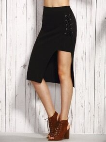 Black Eyelet Lace Up Split Knit Skirt