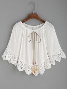 White Crochet Trim Tie Neck Off The Shoulder Top