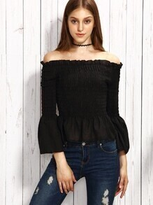 Black Off The Shoulder Bell Sleeve Smocked Peplum Top