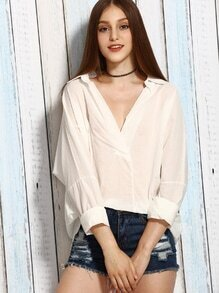 White Lace Insert V Placket Drop Shoulder Blouse