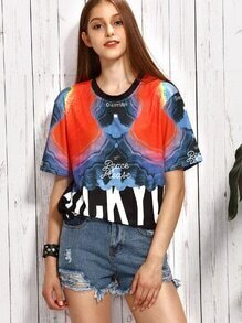 Multicolor Abstract Print T-shirt