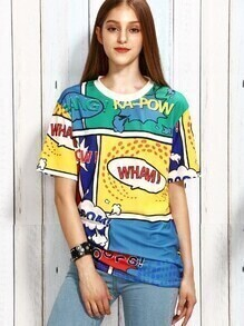 Multicolor Cartoon Print T-shirt