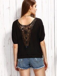 Black Crochet Back Roll Tab Sleeve T-shirt