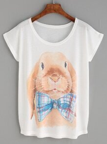 White Rabbit Print T-shirt