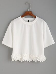 White Flower Crochet Applique T-shirt