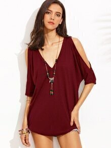 Burgundy Deep V Neck Split Sleeve T-shirt