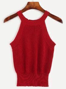 Red Halter Neck Knit Top