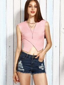 Pink Double V Neck Crossover Ribbed Knit Top