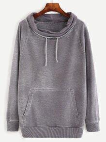 Heather Grey Distressed Funnel Collar Sweatshirt