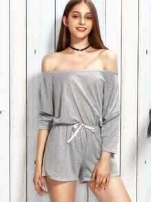 Heather Grey Off The Shoulder Drawstring Romper