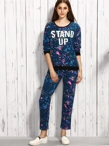 Blue Paint Splatter Print Contrast Trim Loungewear Set