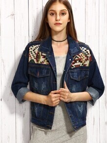 Blue Tribal Yoke Drop Shoulder Denim Jacket
