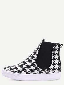 Black White Houndstooth Pattern Flats