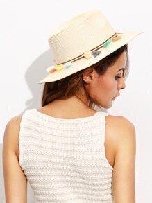 Beige Vocation Tassel Trim Straw Hat