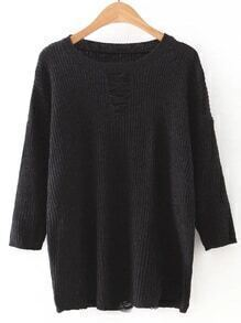 Black Round Neck Ripped Front Knitwear
