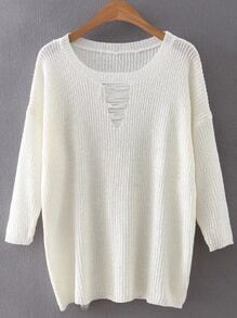White Round Neck Ripped Front Knitwear
