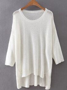 White High Low Plain Knitwear