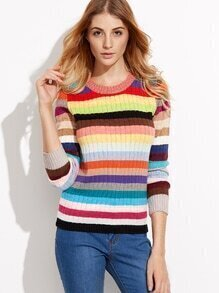 Multicolor Round Neck Stripe Knitwear