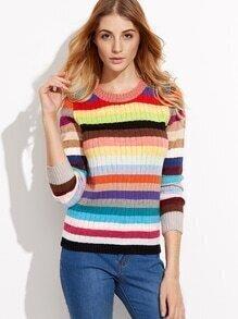 Multicolor Round Neck Stripe Knitwear