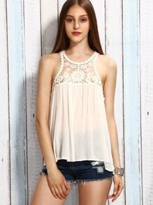 Beige Crochet Key-hole Sheer Tank Top