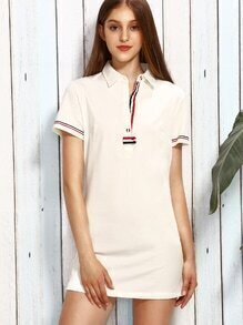 Beige Lapel Stripe Trim Button Casual Dress