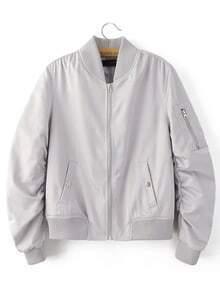 Grey Rib-knit Cuff Zipper Pocket Jacket