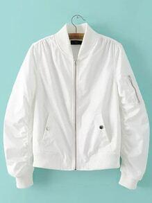 White Rib-knit Cuff Zipper Pocket Jacket