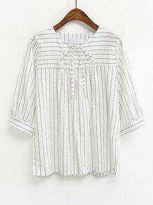 White Mixed Striped Tie Neck Blouse