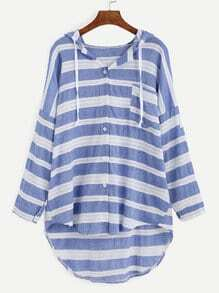 Blue Striped Drop Shoulder Hooded High Low Blouse