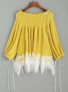 Yellow Lace Trim Smocked Off The Shoulder Pleated Blouse
