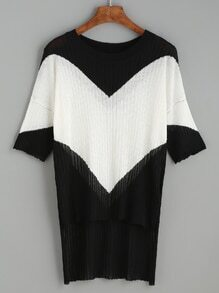 Black Contrast Panel Ribbed Knit High Low T-shirt