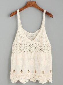 Beige Crochet Insert Embroidered Cami Top