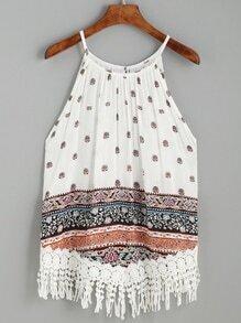 White Ornate Print Lace Fringe Trim Cami Top