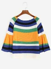 Multicolor Striped Raglan Bell Sleeve Sweater