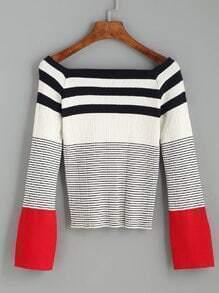 Multicolor Striped Square Neck Ribbed Sweater