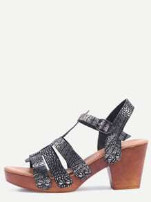 Silver Crocodie Emobossed Caged Wooden Heel Sandals
